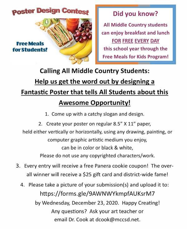Poster Contest:   Free Meals for Students