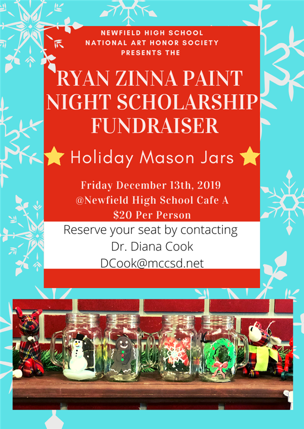 National Art Honor Society Zinna Holiday Mason Jar Paint Night Scholarship Fundraiser