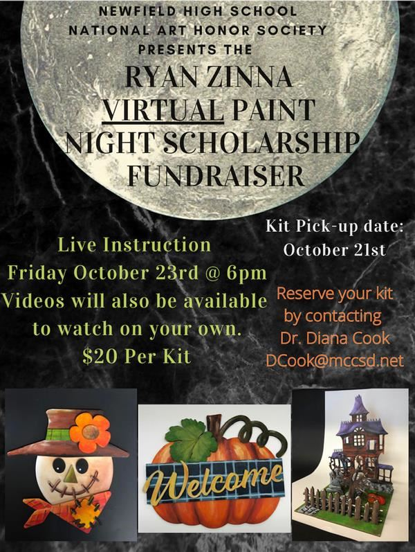 Virtual Halloween Zinna Paint Night Scholarship Fundraiser!  October 23