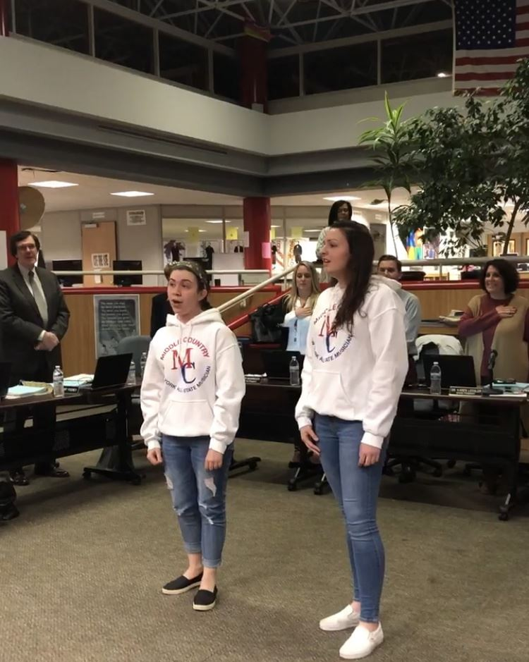 MCCSD All-Eastern Musicians performed the Star Spangled Banner at the January 9 BOE Meeting
