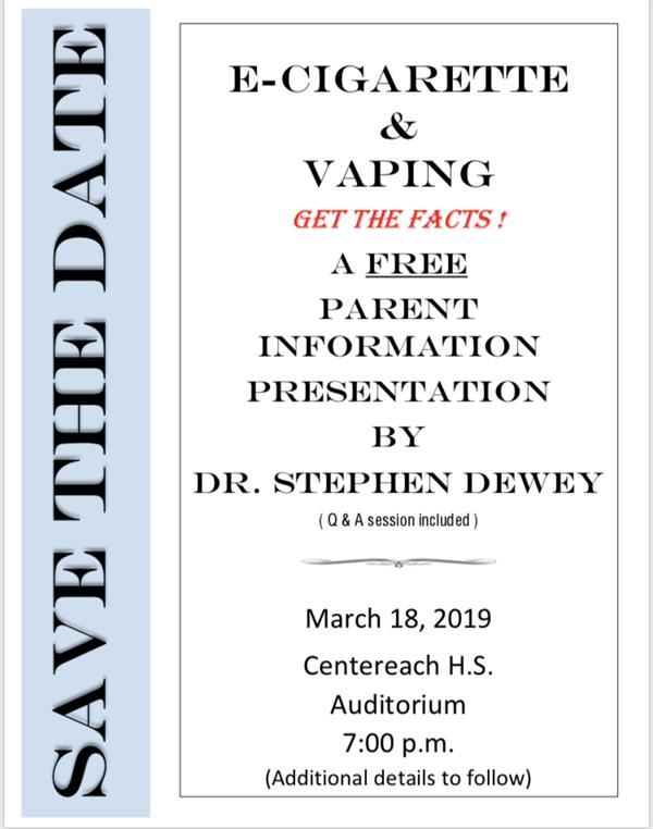 E-Cigarettes and Vaping:  Get the Facts Workshop, March 18