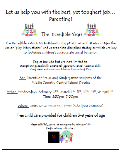 The Incredible Years Parent Series Pre-K and Kindergarten