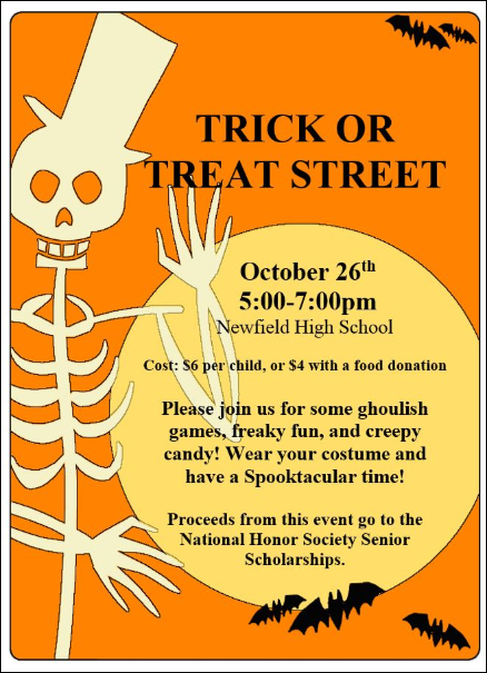 NHS Trick-or-Treat Street October 26th 5-7 PM