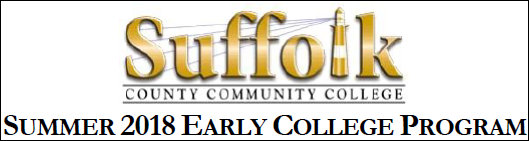 Suffolk's Summer 2018 Early College Program - Information and Application