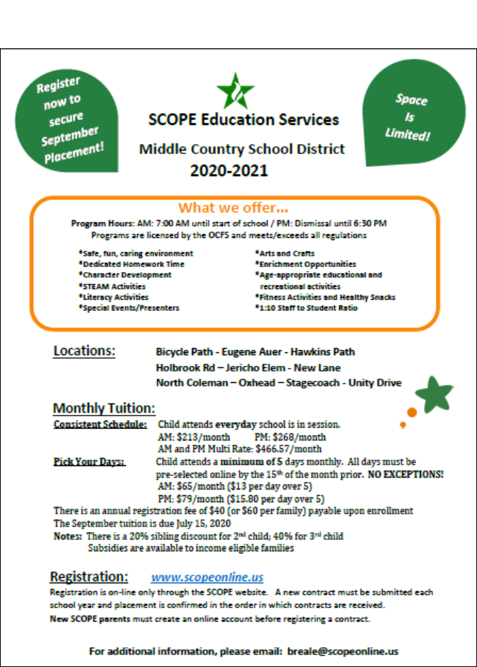 SCOPE Childcare Information Flyer