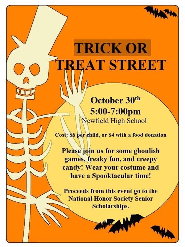 NHS Trick-or-Treat Street October 30th 5:00-7:00 PM