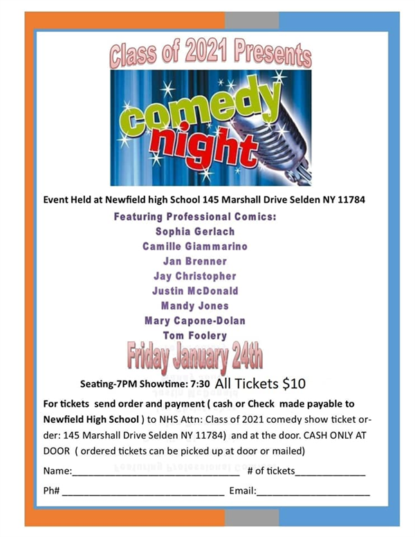 NHS Class of 2021 Comedy Night January 24th - 7:30 PM